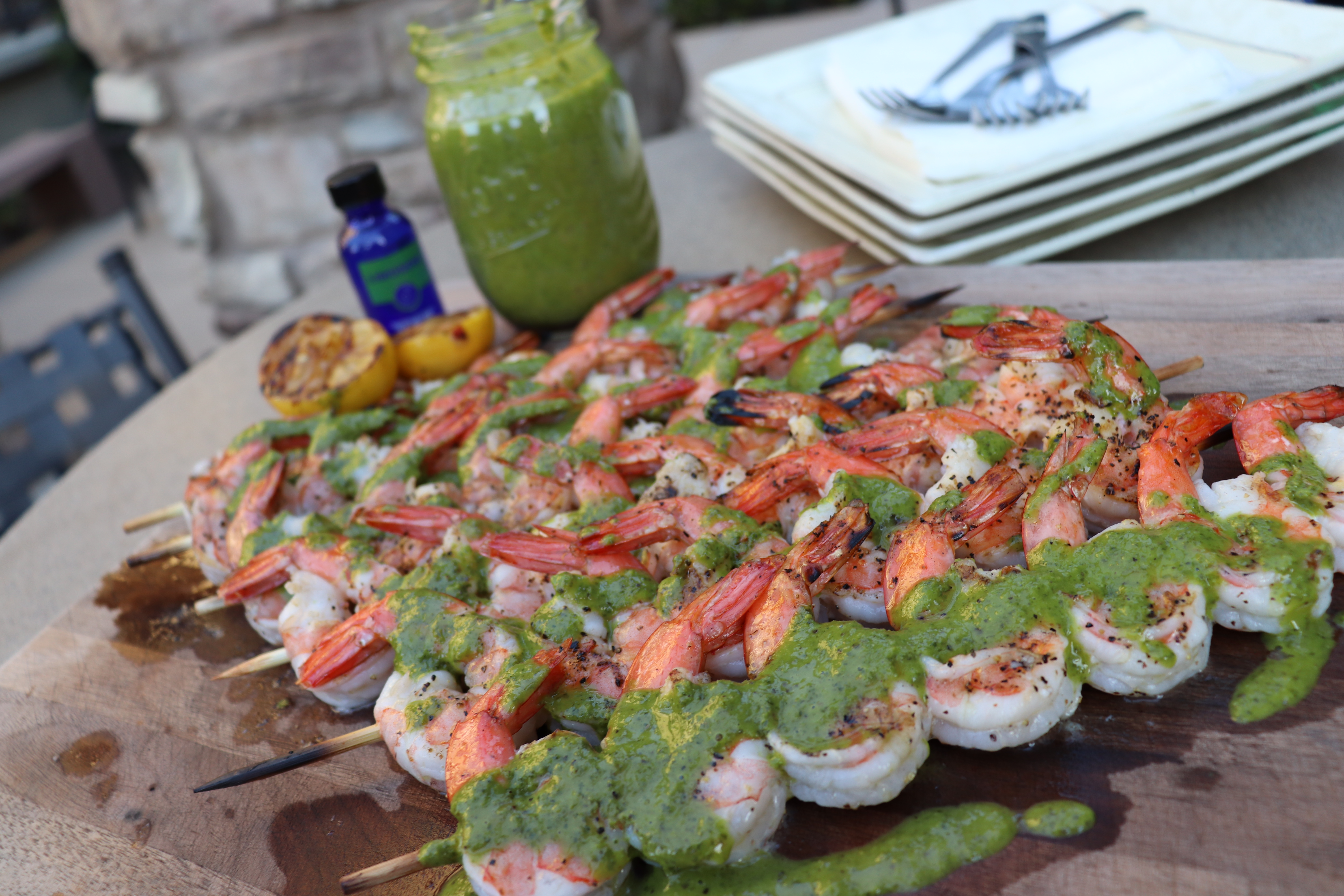 Grilled Shrimp with Terpene Infused Chimichurri